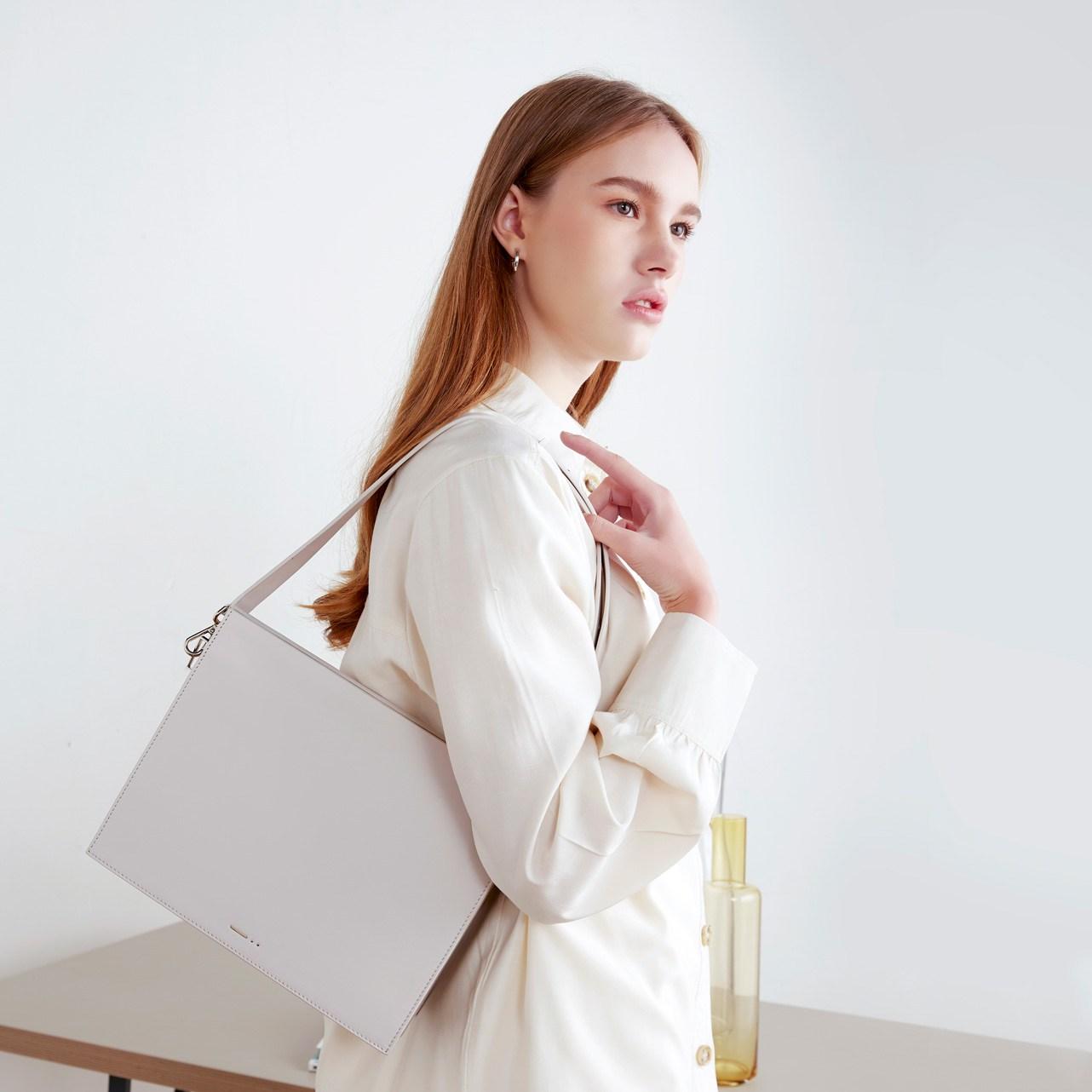 shoulder bag grey leather