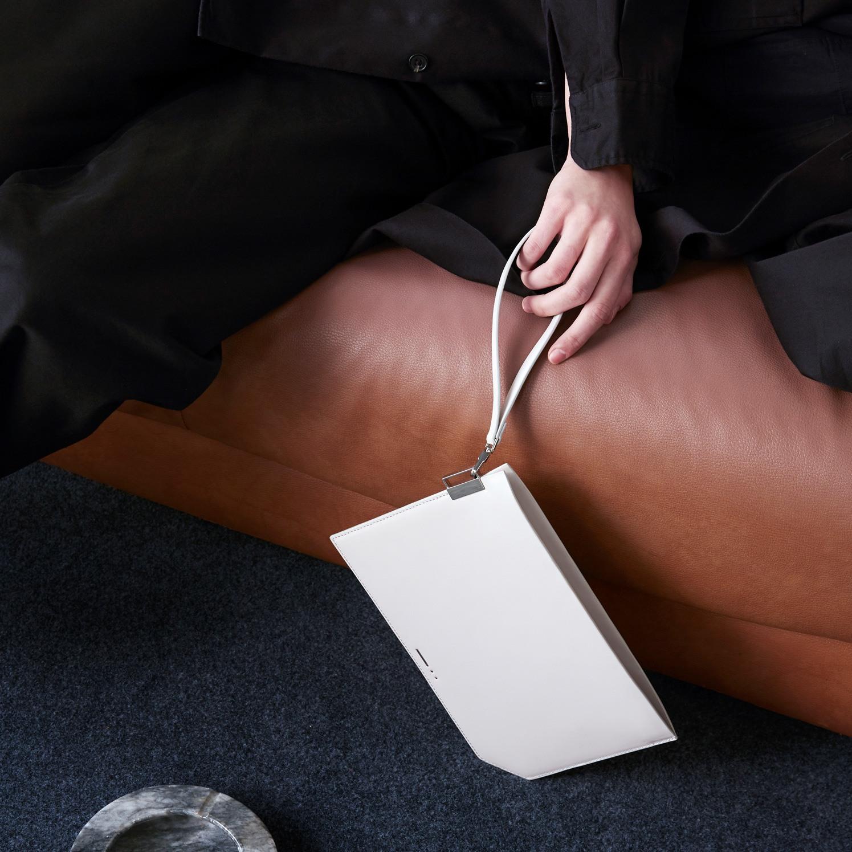 grey leather clutch