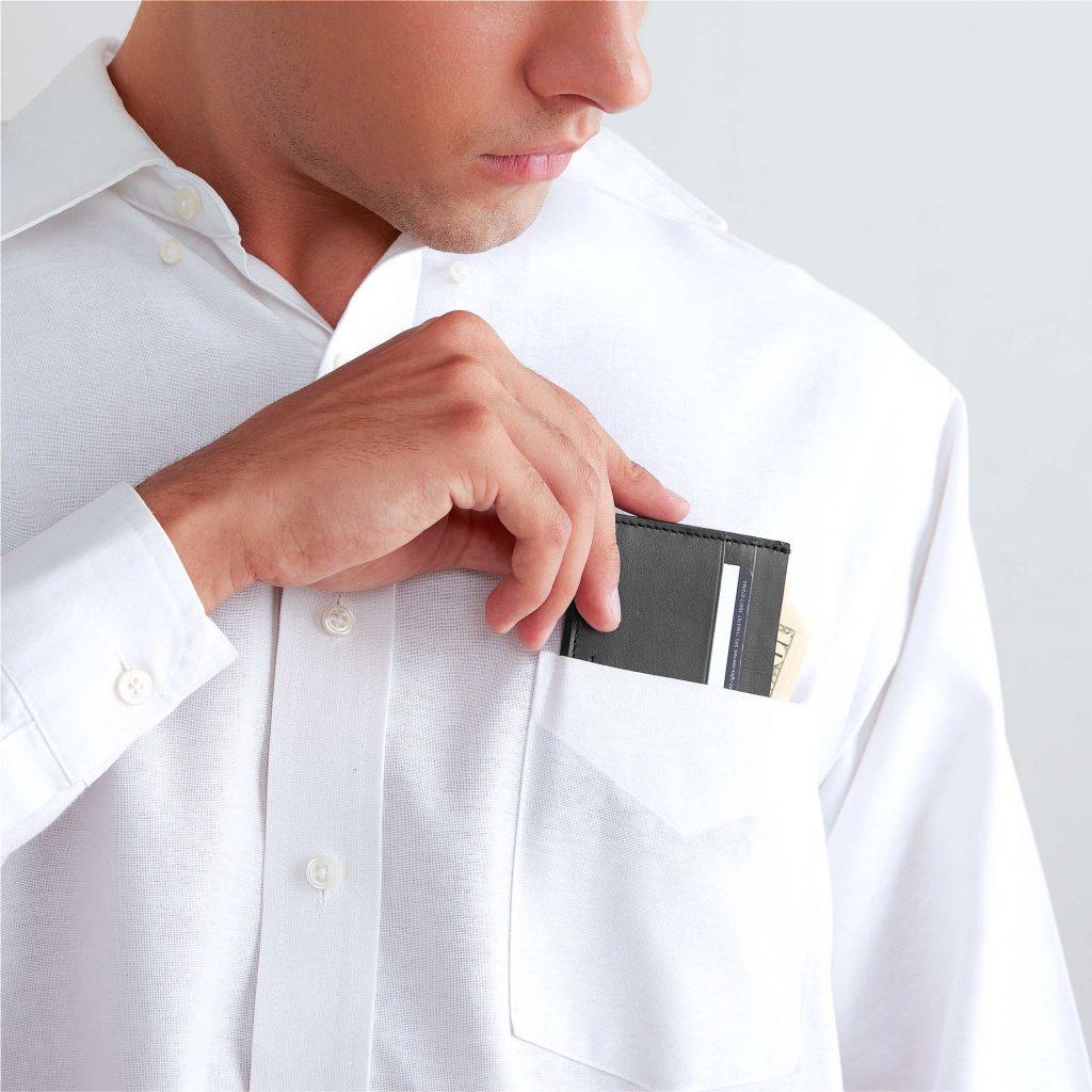 card wallet black leather