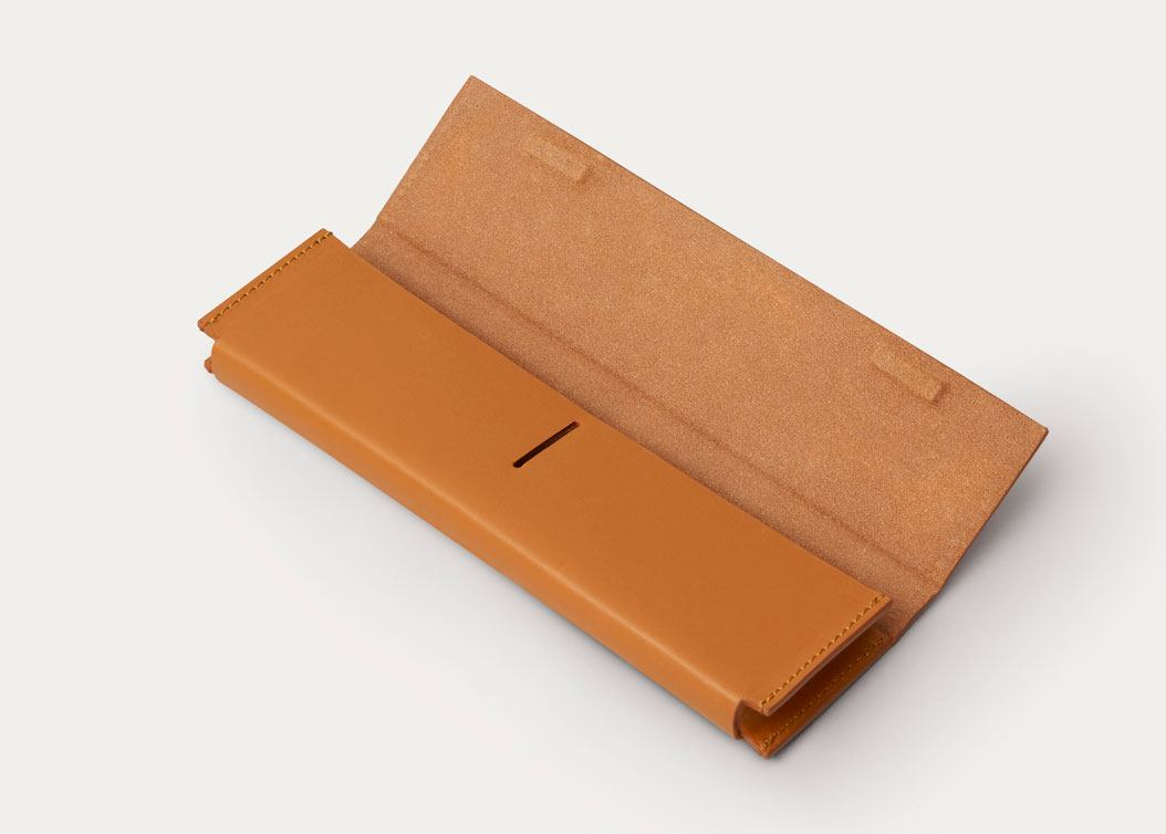 minimal brown pencil case