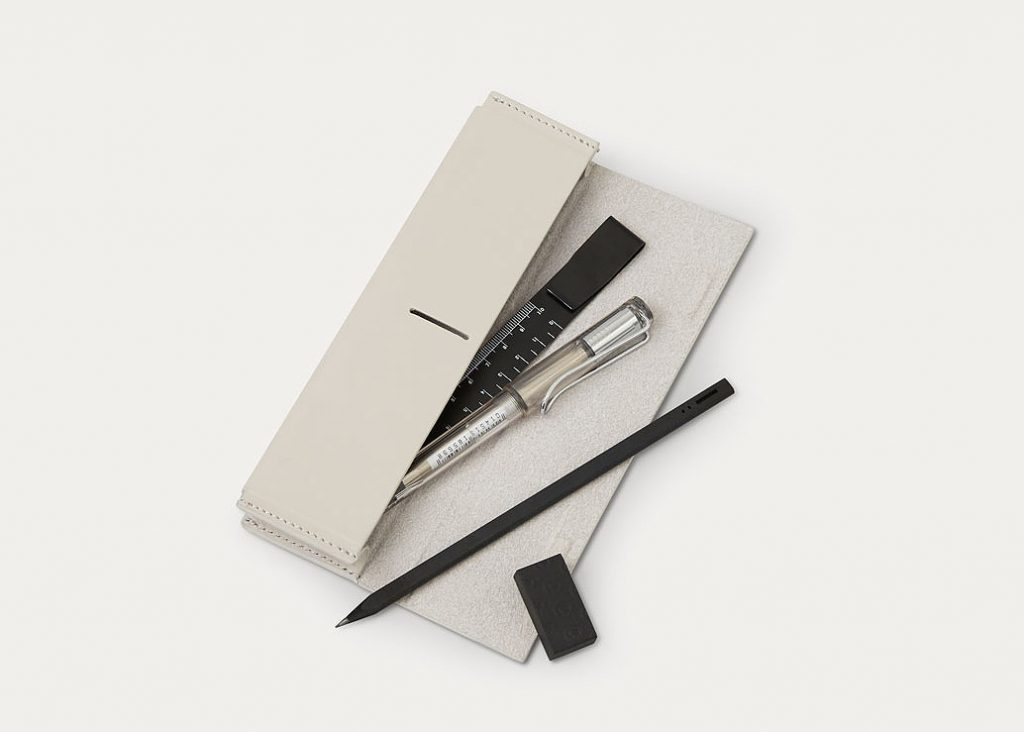 minimal grey pencil case